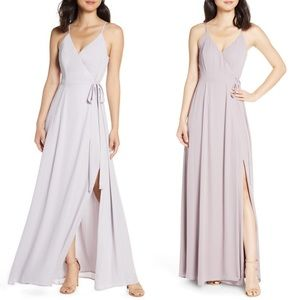 WAYF The Angelina Front Split Wrap Gown SM LQ253